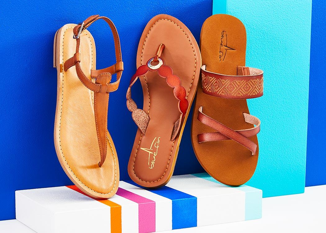 assorted blue fin sandals