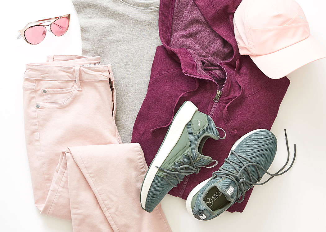 style report with attractive outfit and puma sneakers