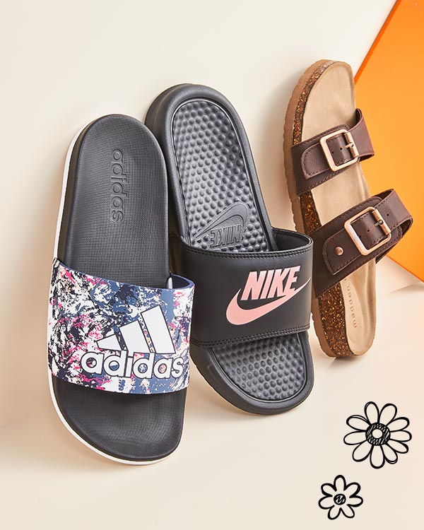 adidas, nike athletic slides and madden girl footbed