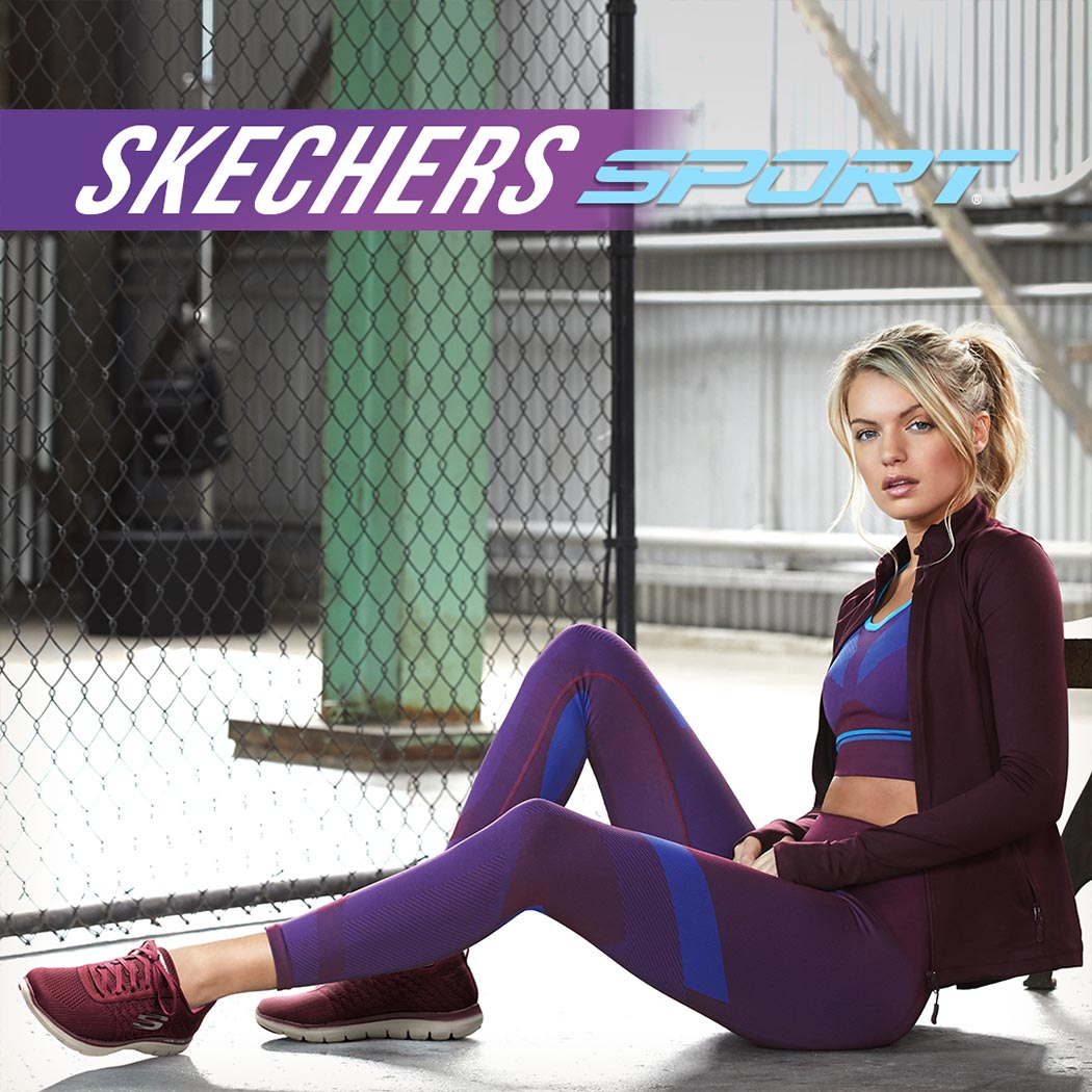 sporty woman wearing skechers sneakers