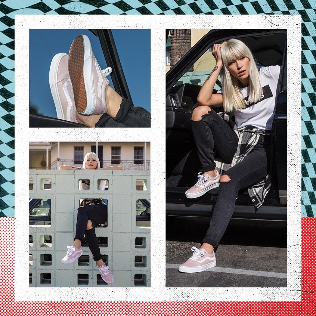 hip woman wearing cut pink vans skate sneakers