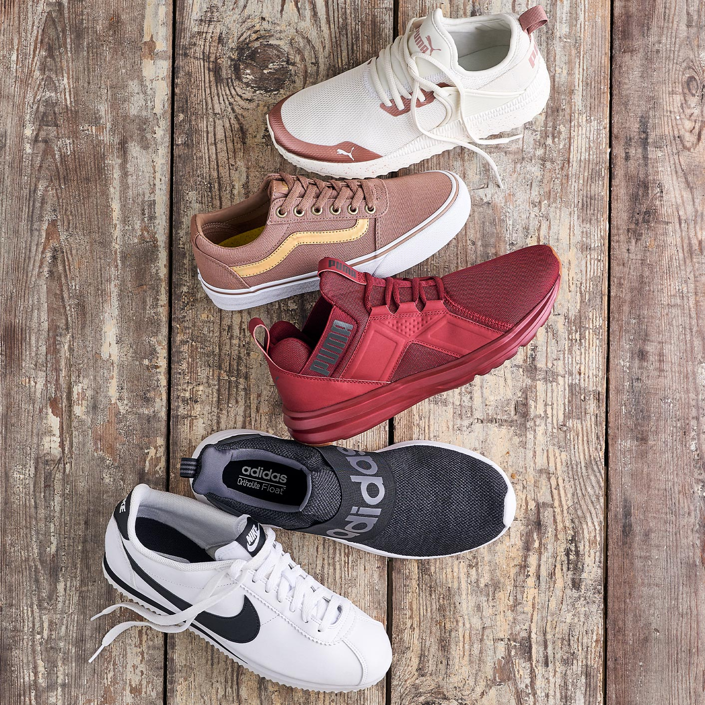 Assorted vans, puma, adidas, and nike athletic sneakers