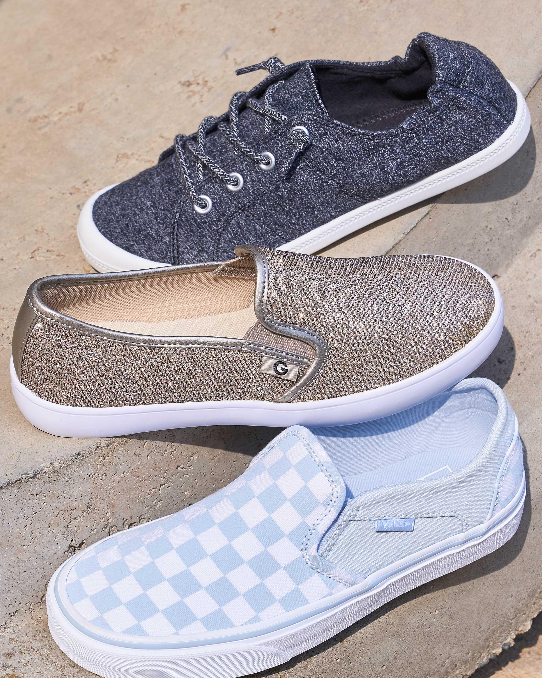 Roxy, Keds, and Vans slip-on sneakers
