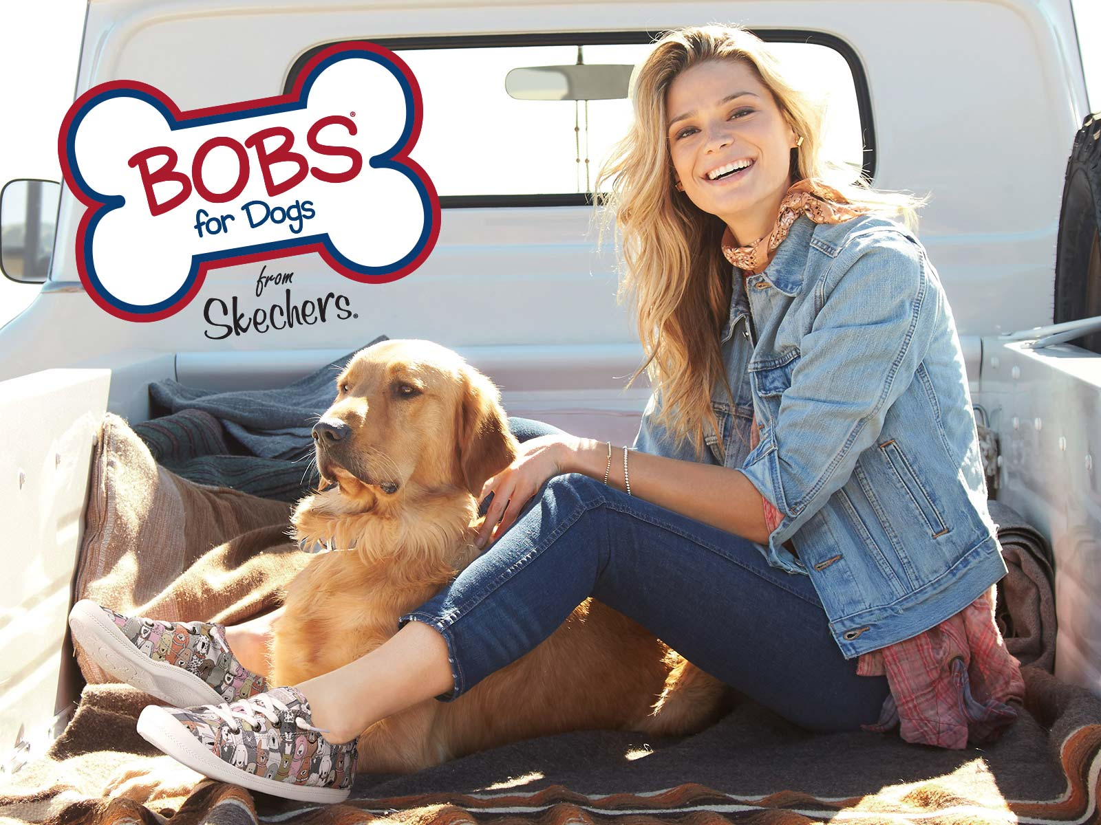 a gal wearing skechers bobs and her dog