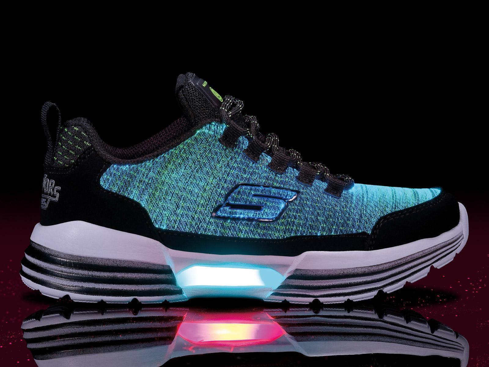 kids skechers glow sneakers