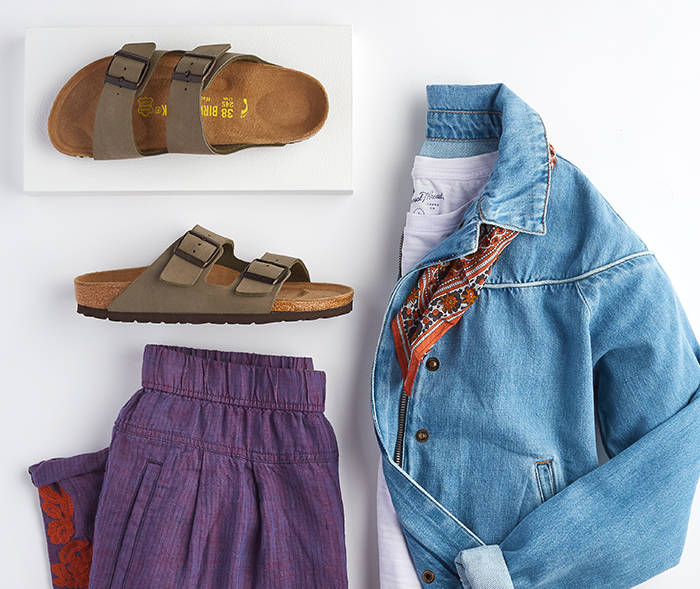 cool outfit laydown with birkenstock footbed sandals