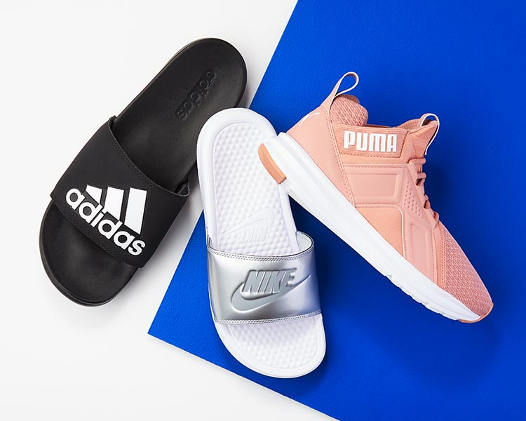 adidas, nike athletic slides and puma sneaker