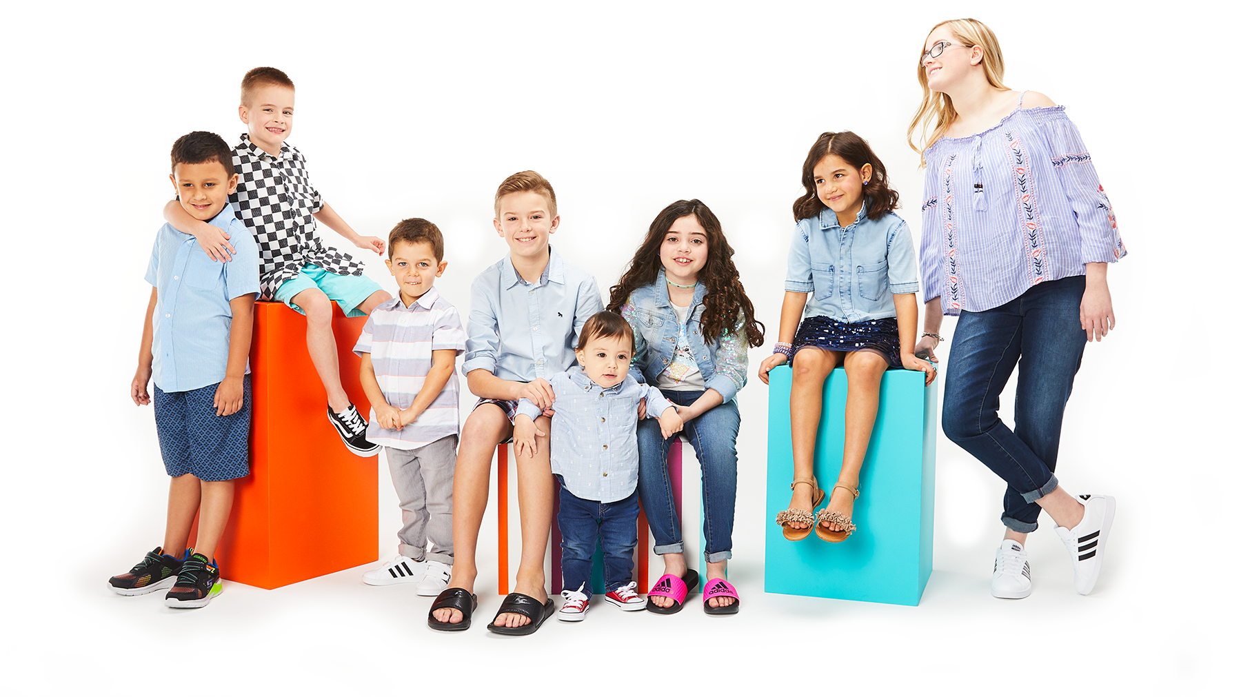 kids club with Justin, Allen, Harrison, Tyler, Javi, Rachel Anne, Camdyn, and Evelyn