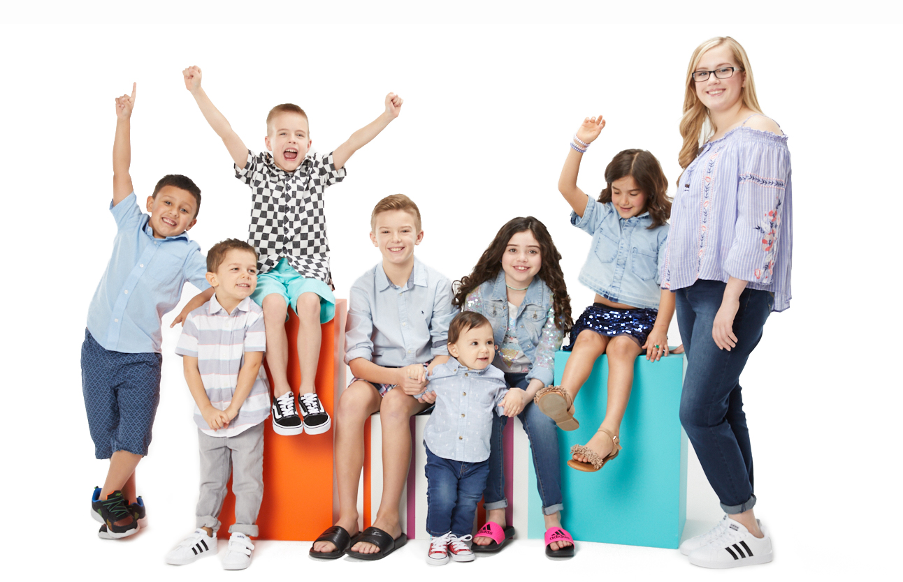 Kids Club group photo featuring Justin, Harrison, Allen, Tyler, Javi, Rachel Anne, Camdyn, Evelyn