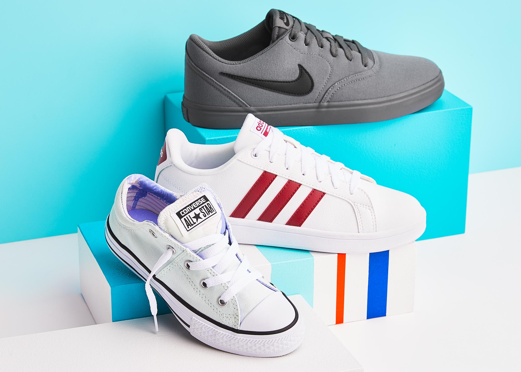 boys adidas, nike, and converse sneakers