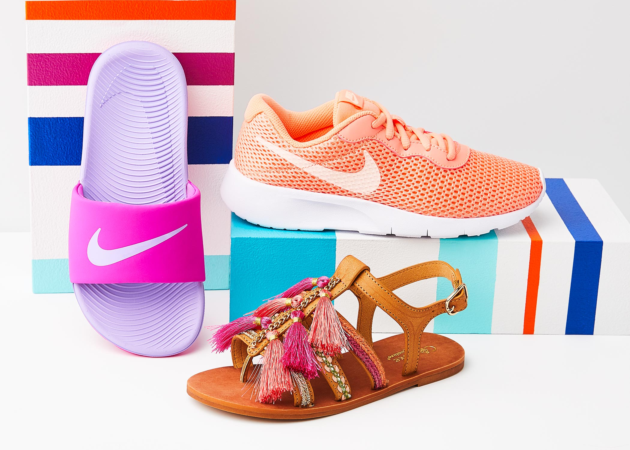 girls nike sneaker and slide with a cupcake couture sandal
