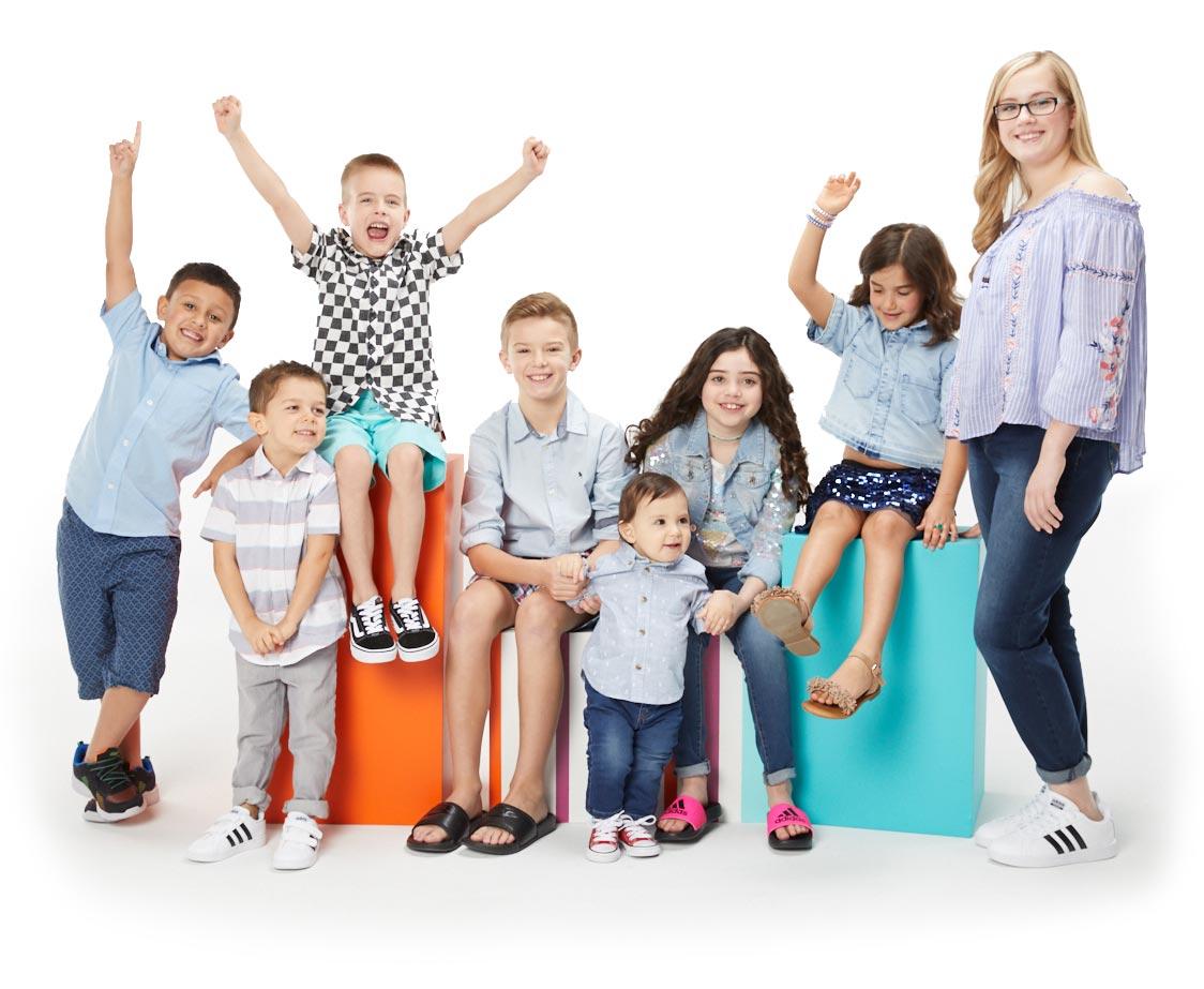 Kids Club group photo featuring Justin, Harrison, Allen, Tyler, Javi, Rachel Anne, Camdyn, Evelyn