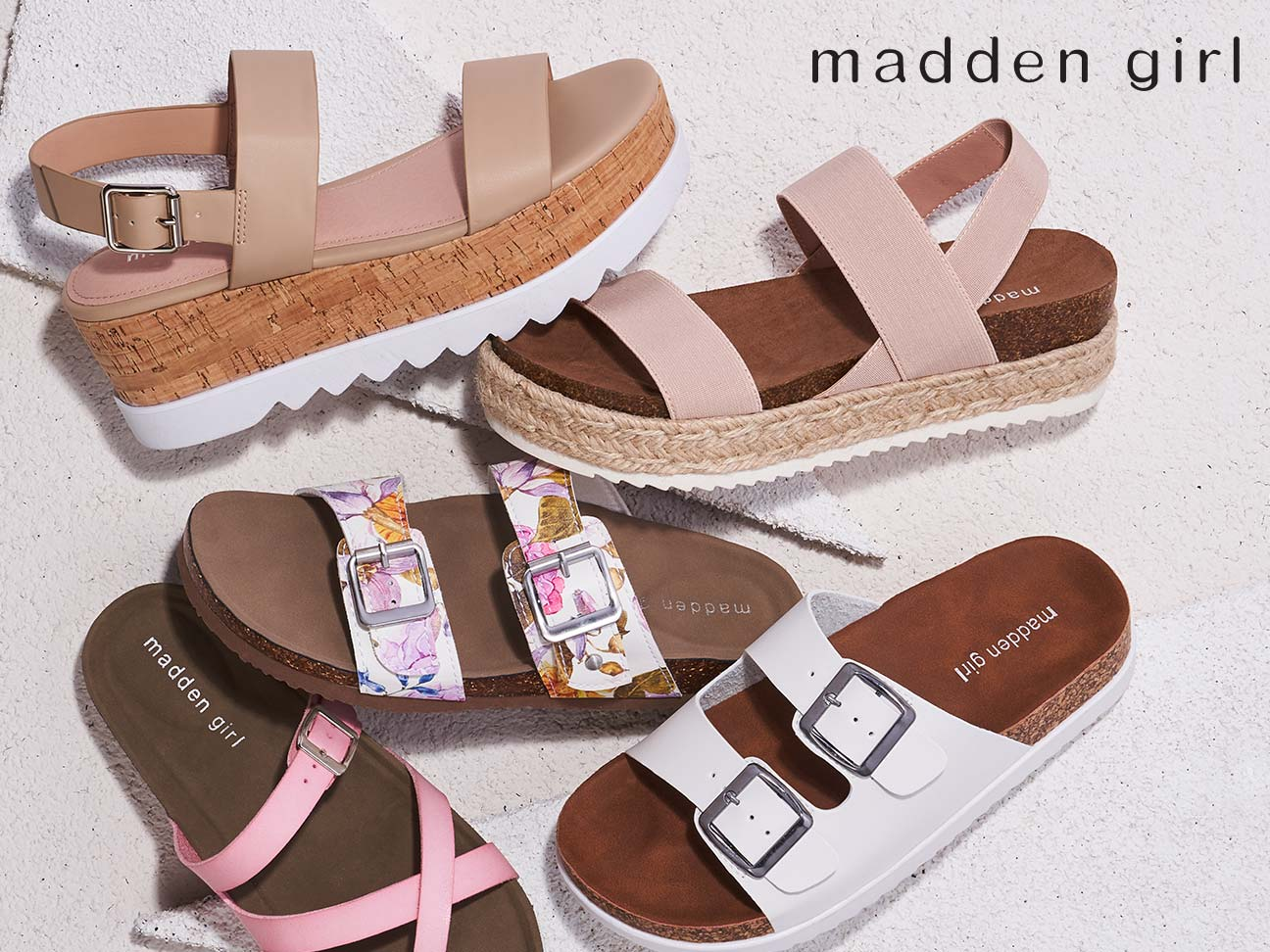 various styles of madden girl sandals