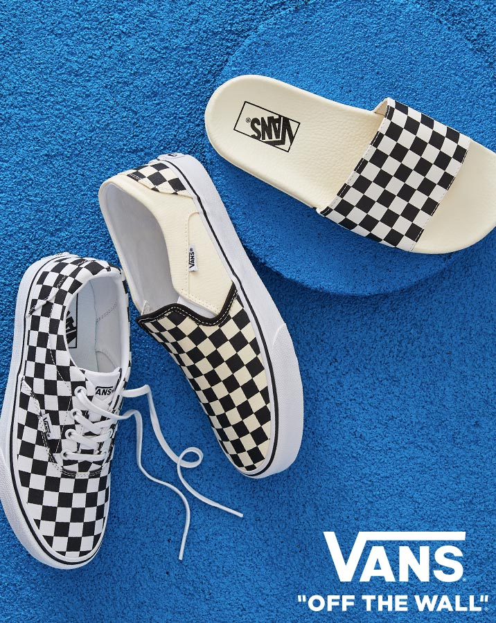 assorted vans black and white check shoes