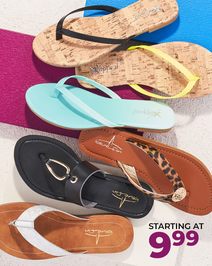 assorted blue fin and xappeal sandals starting at $9.99