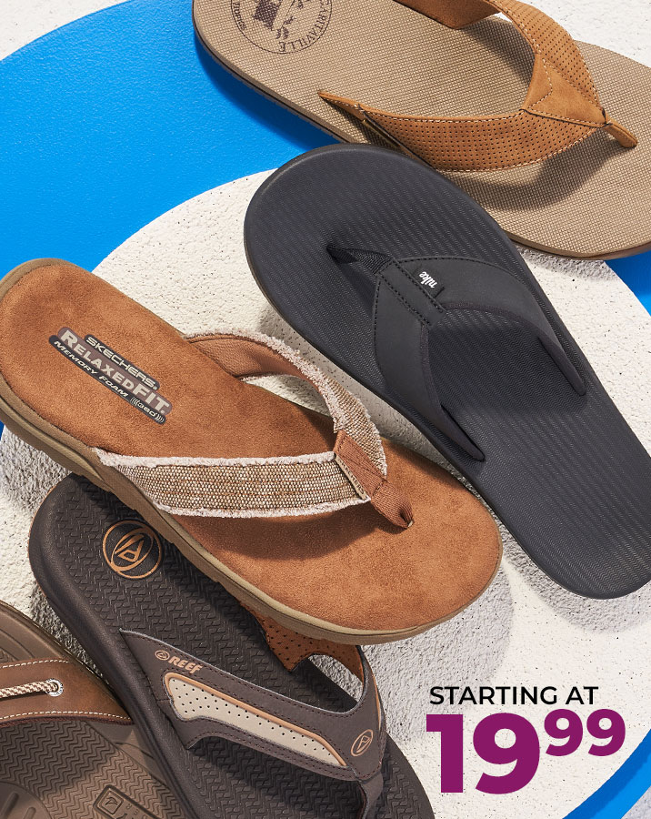 assorted reef, skechers, and nike mens flip-flops starting at $19.99