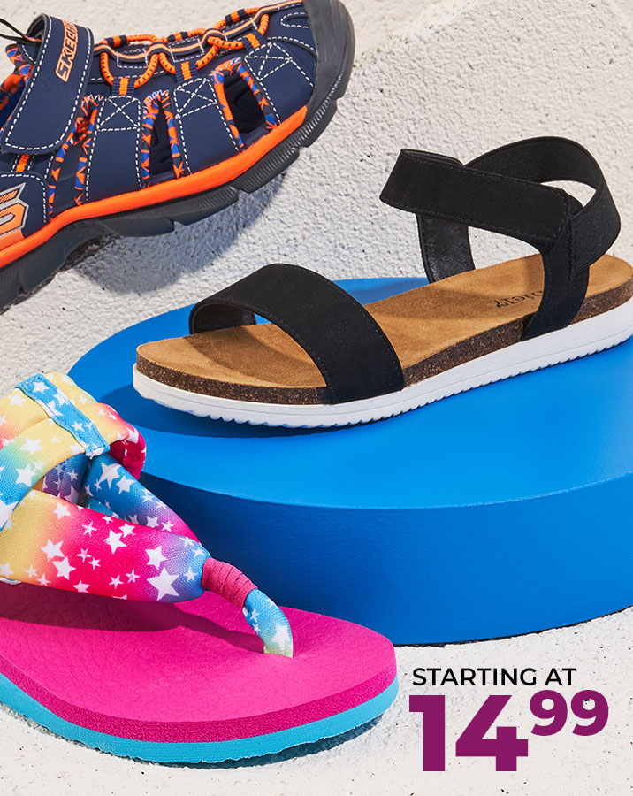 assorted kids sandals starting at $14.99