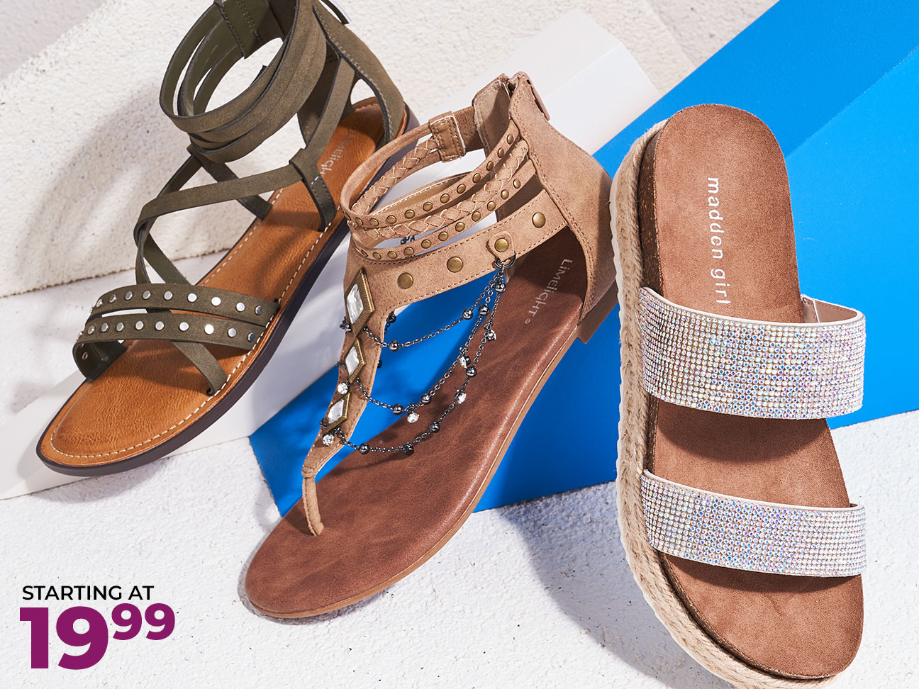 assorted limelight and madden girl sandals starting at $19.99