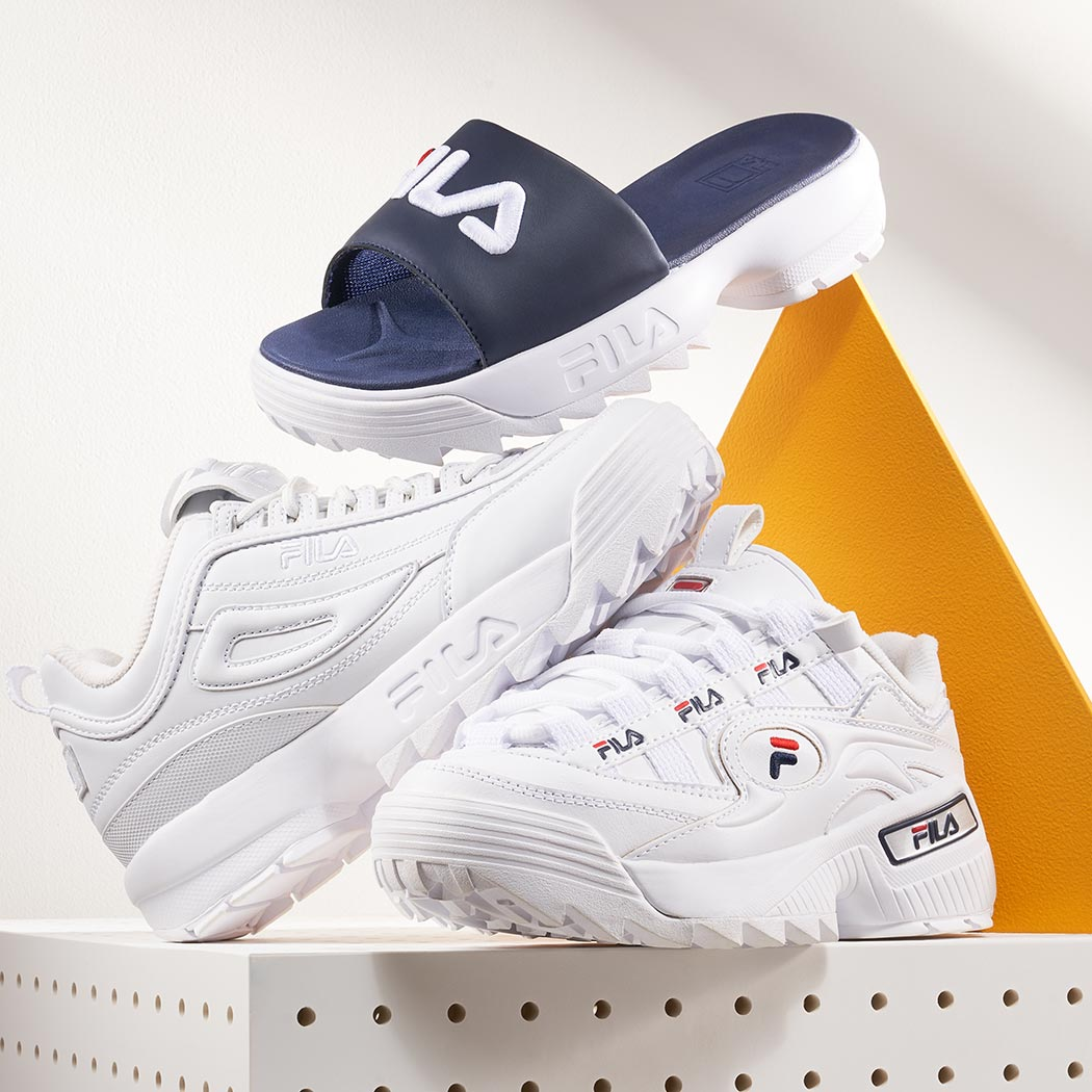 fila slide and chunky sneakers