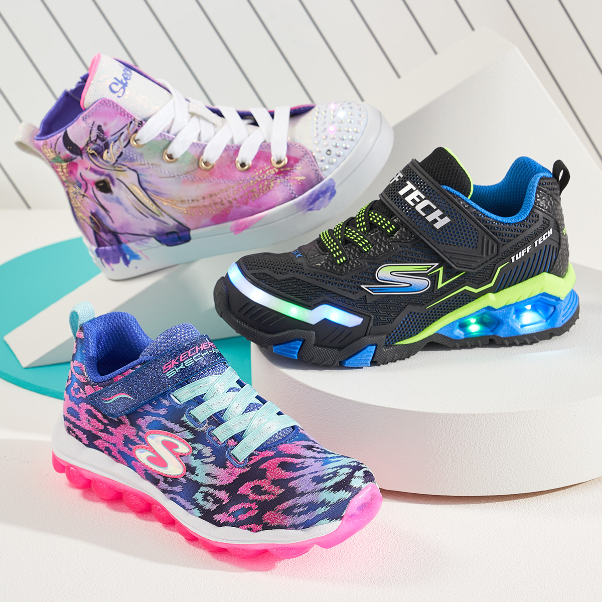 assorted kids colorful skecher sneakers