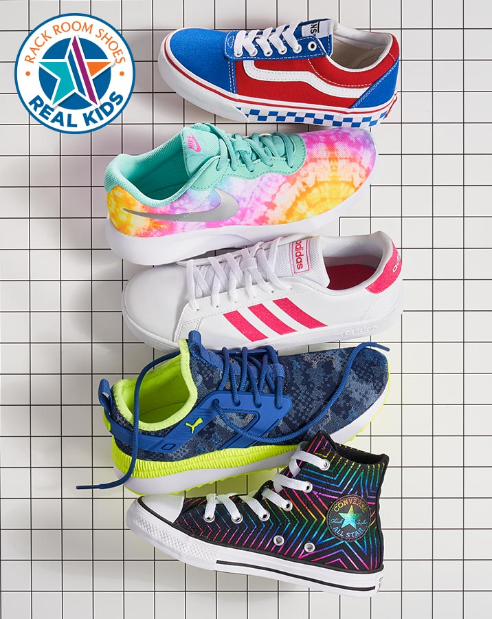 assorted colorful vans, nike, adidas, puma, and converse