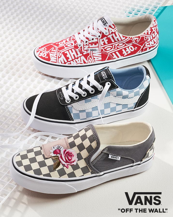 assorted colorful vans sneakers