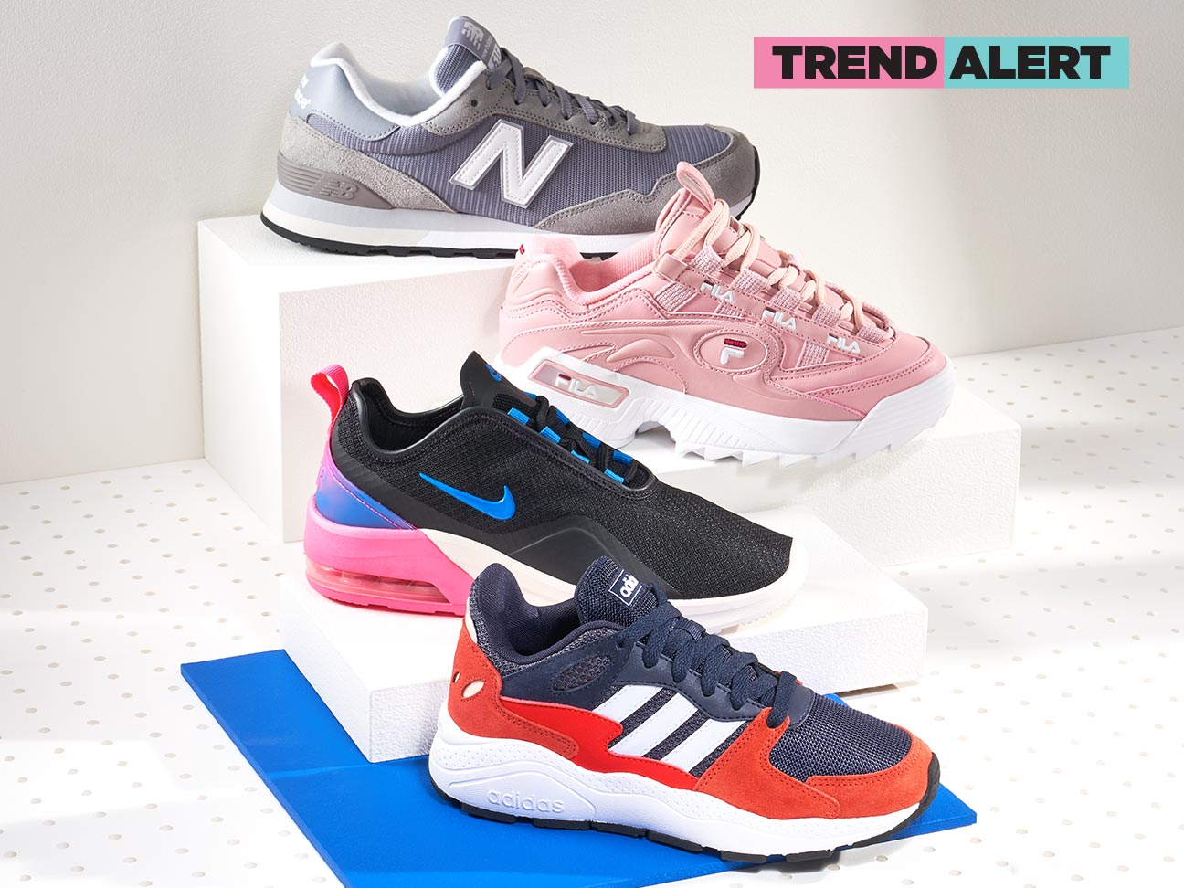 1283e8d2d3e68 assorted new balance, fila, nike, and adidas chunky sneakers