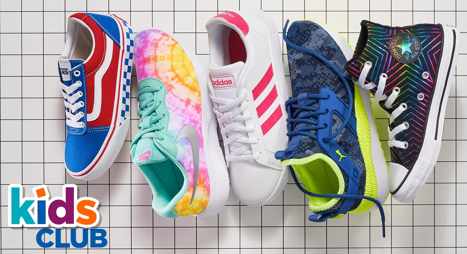 vans, nike,adidas, puma and converse colorful sneakers
