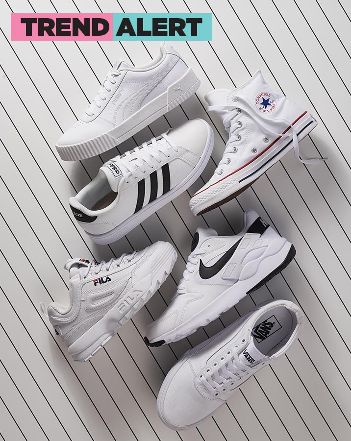 all white and black puma, converse, adidas, fila, nike, and vans athletic sneakers