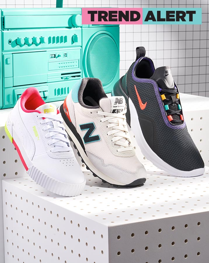 assorted nike, new balance, and puma athletics with pops of color