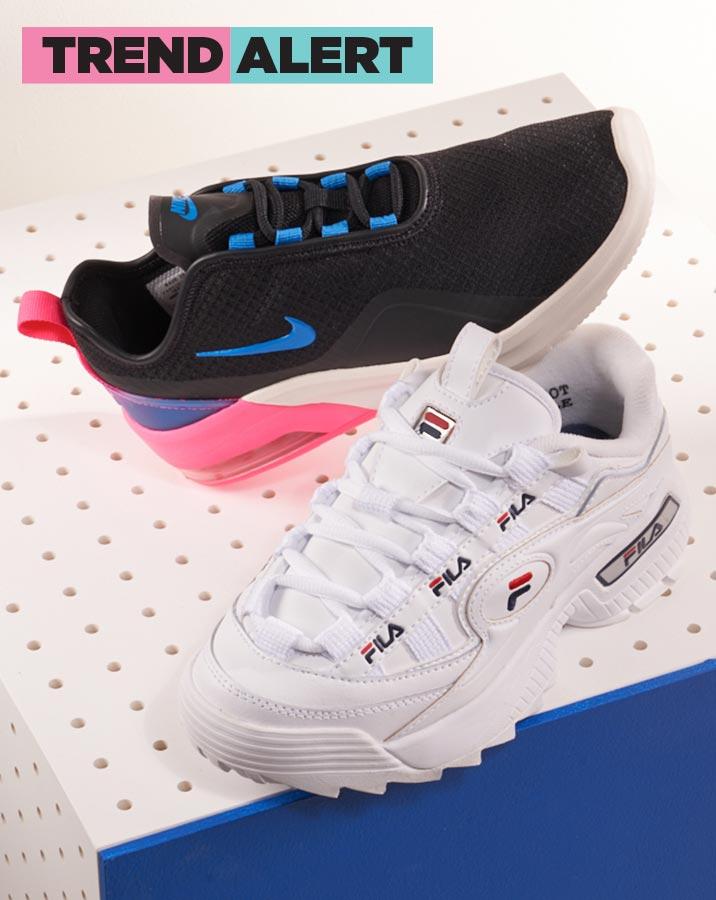 nike and fila chunky sole sneakers