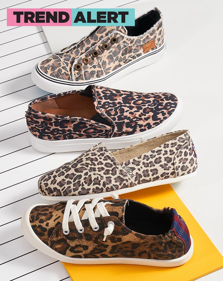 assorted animal print canvas shoes