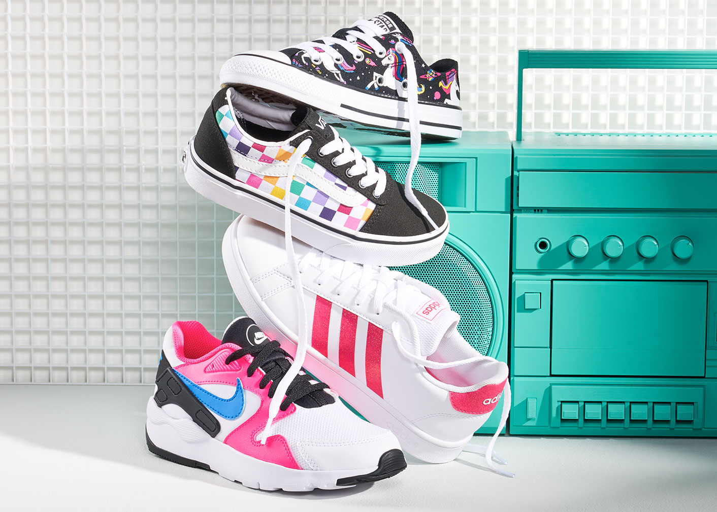 assorted converse, vans, adidas and nike colorful sneakers