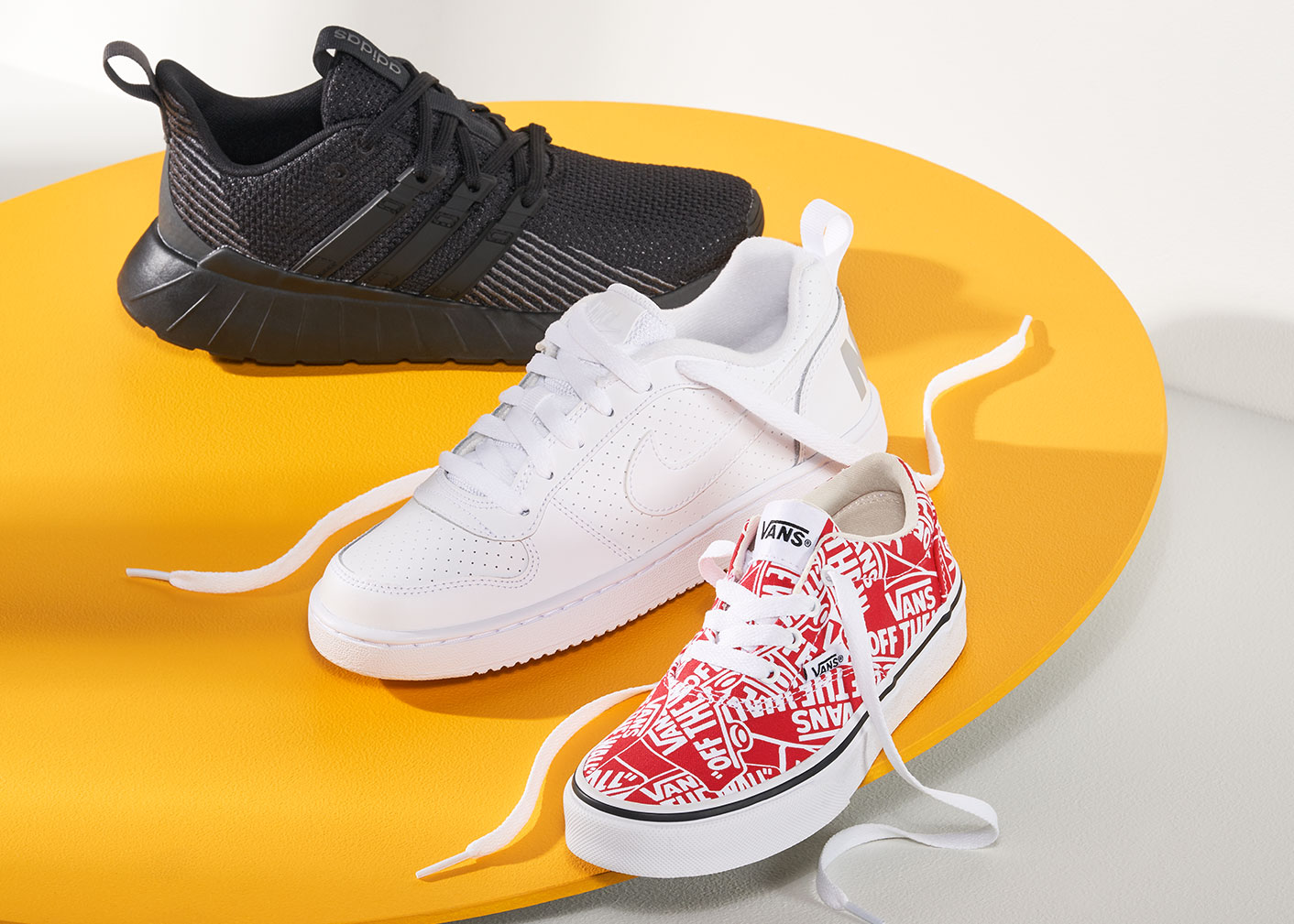 assorted adidas, nike, and  vans sneakers