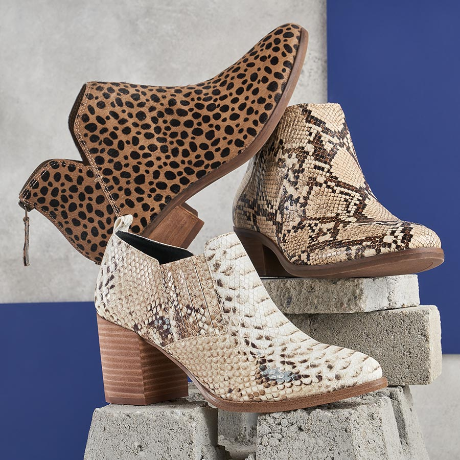 assorted animal print booties