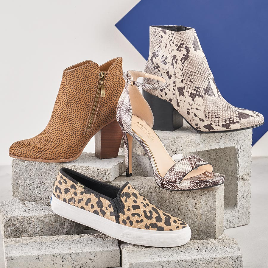 assorted animal print shoes and boots