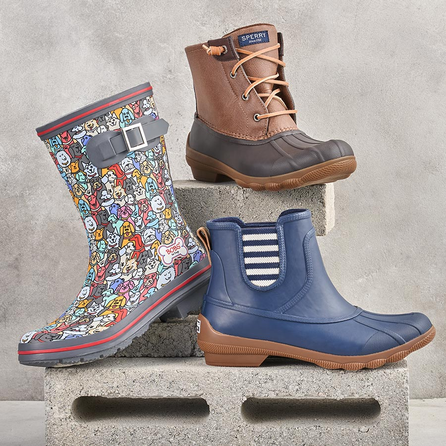 assorted sperry and skechers rain boots