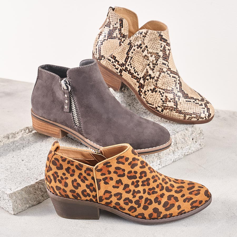 assorted print and suede booties and shooties
