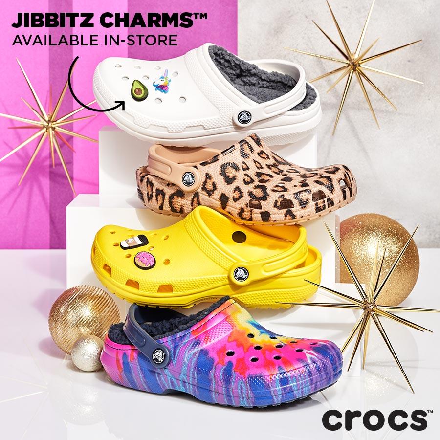 assorted festive crocs clogs