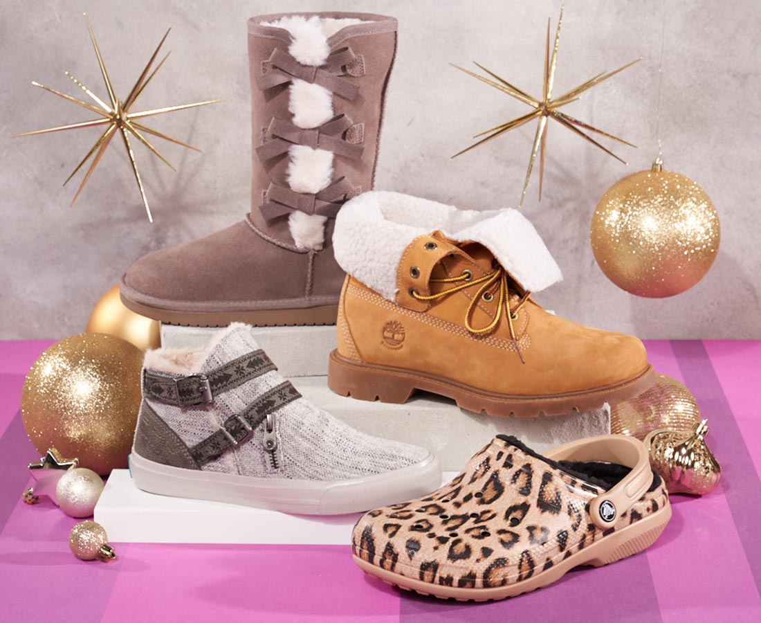 assorted fleece lined crocs, timberland, and koolaburra by ugg boots and shoes