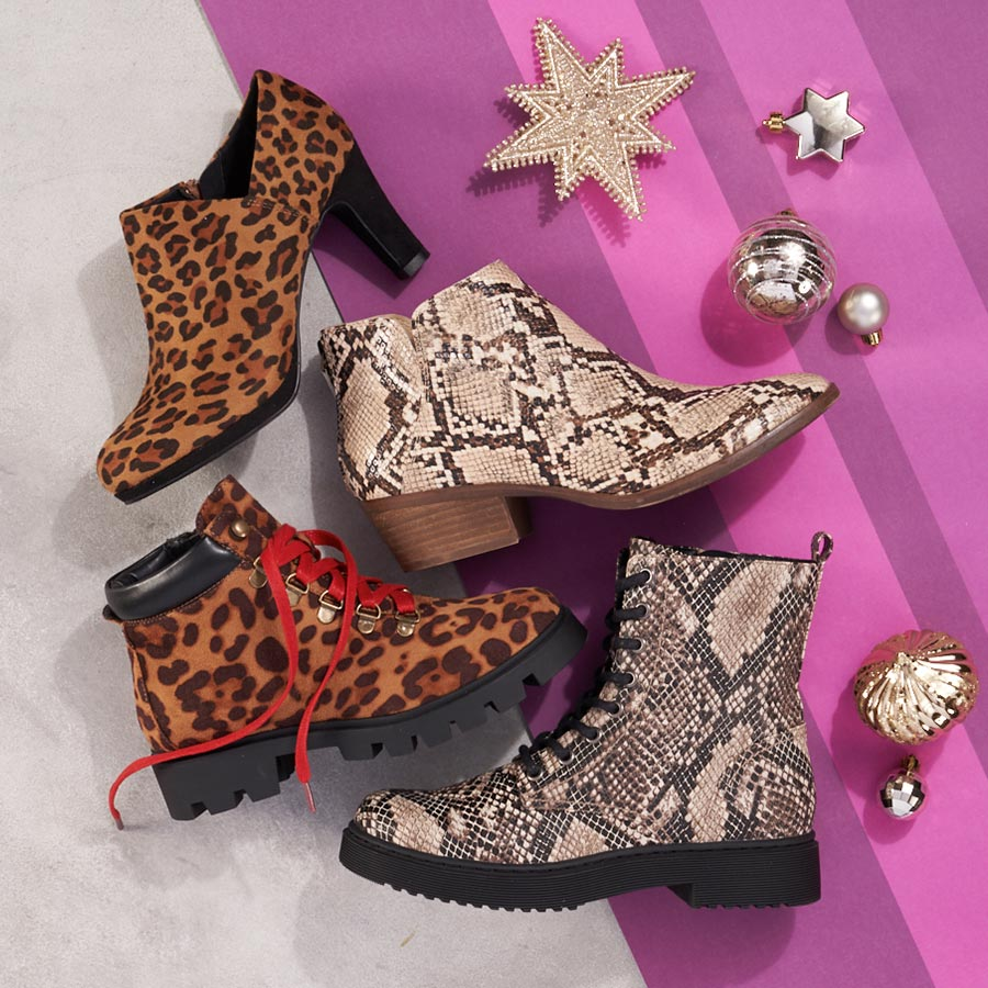 assorted womens animal print boots
