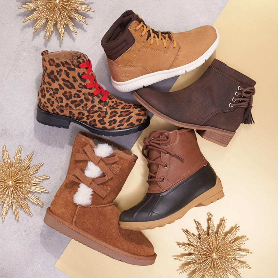 assorted kids boots including koolaburra by ugg, sperry, and timberland