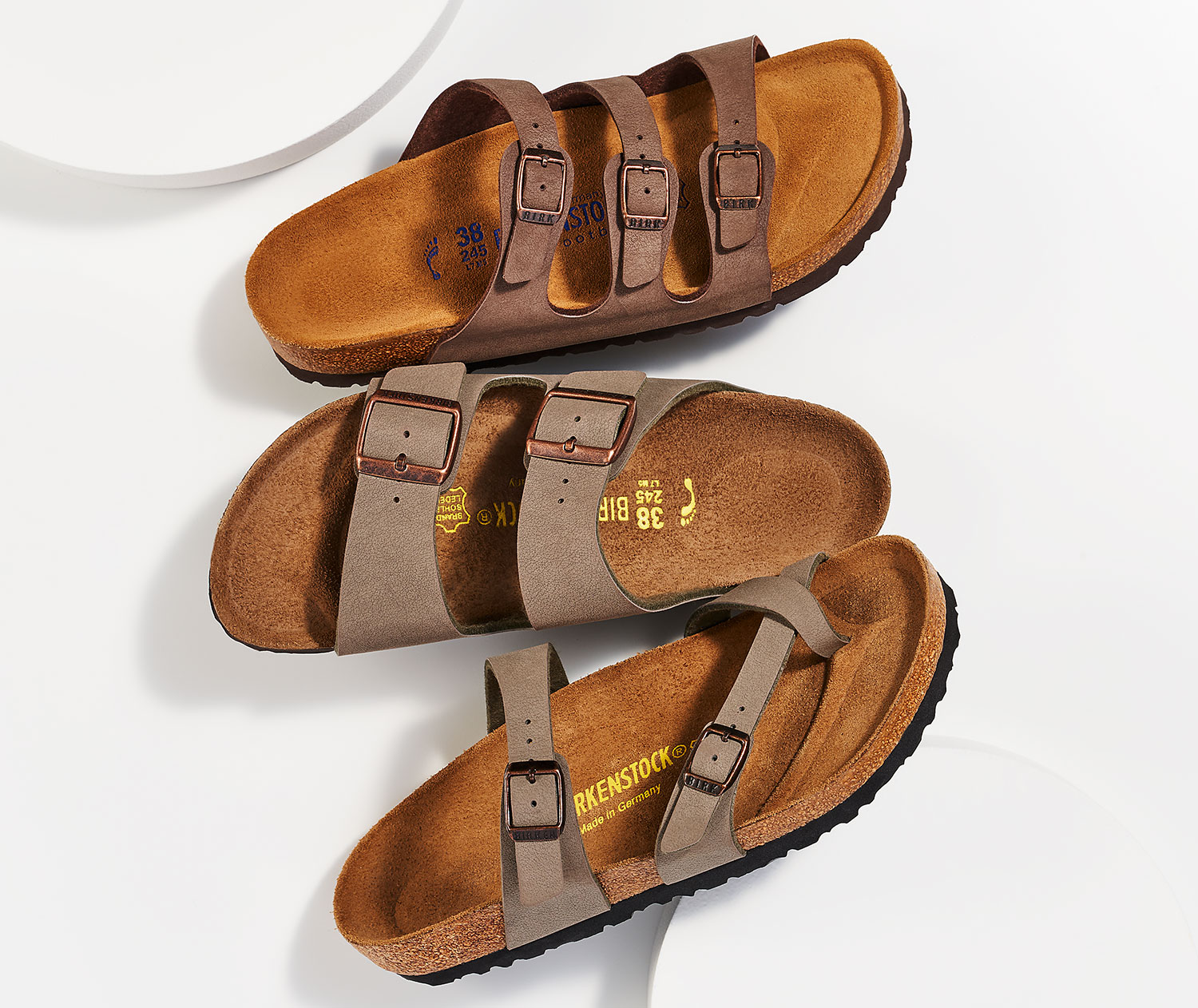 assorted birkenstock cork footbeds