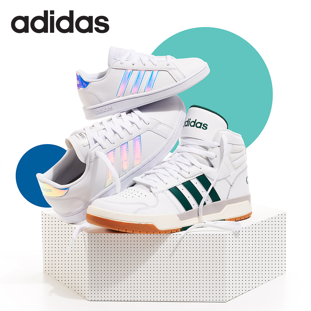 assorted adidas Court sneakers
