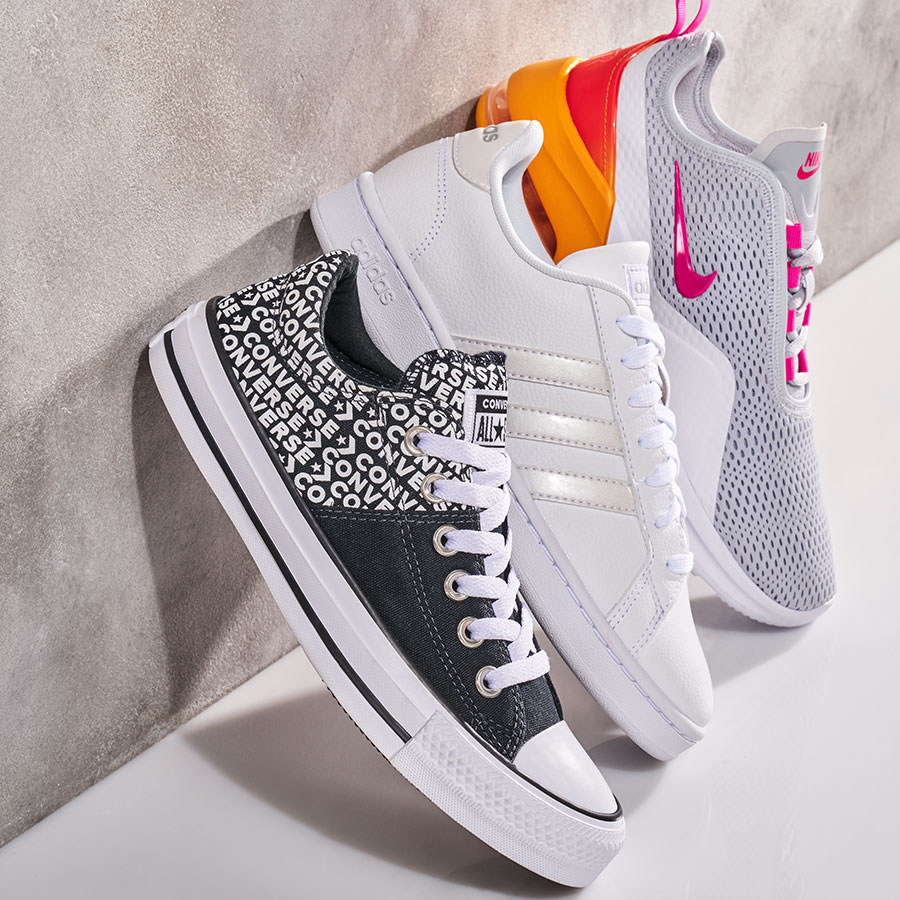 Converse, adidas, and nike athletic sneakers