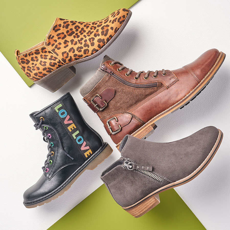 assorted stylish boots