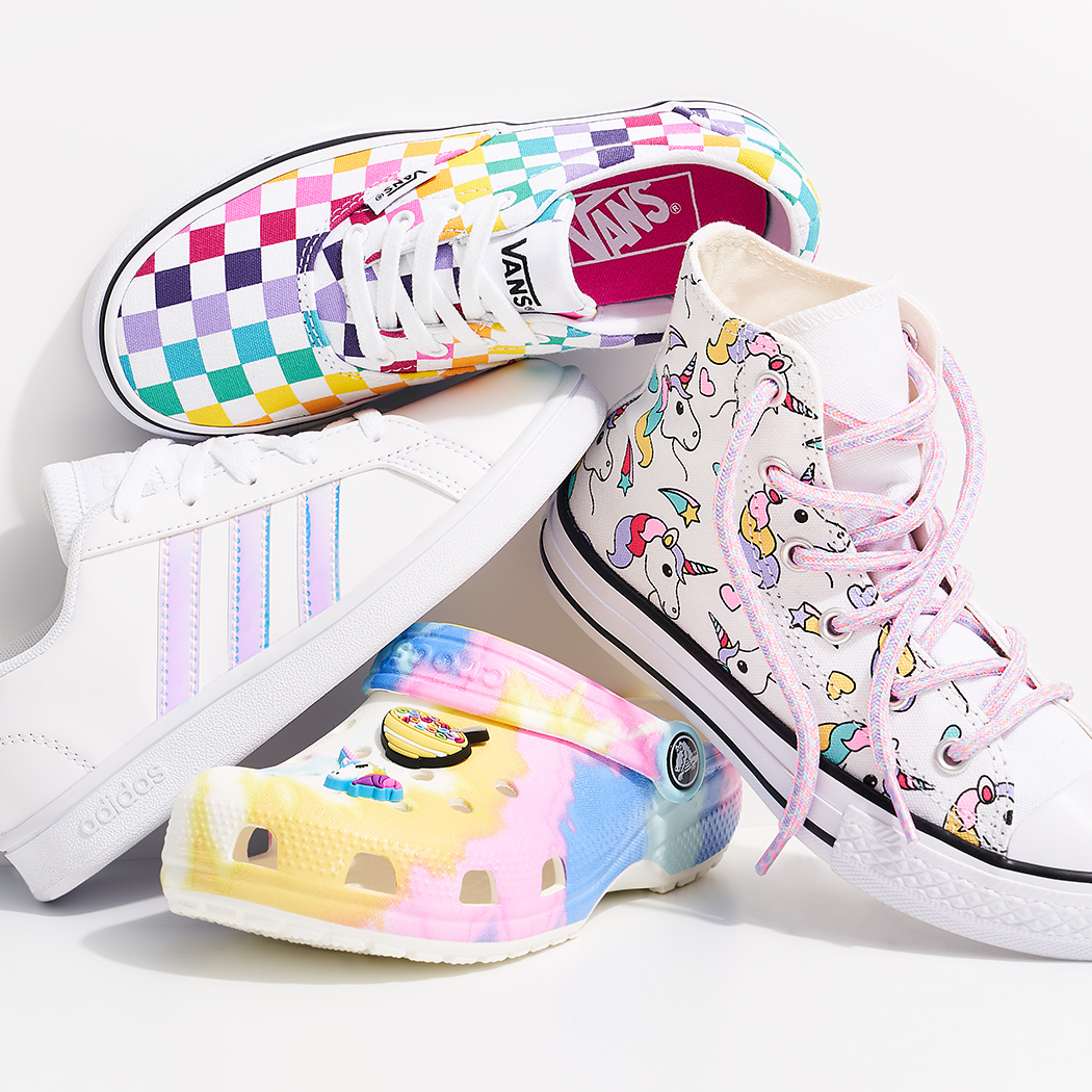 colorful girls vans, adidas, converse, and crocs shoes
