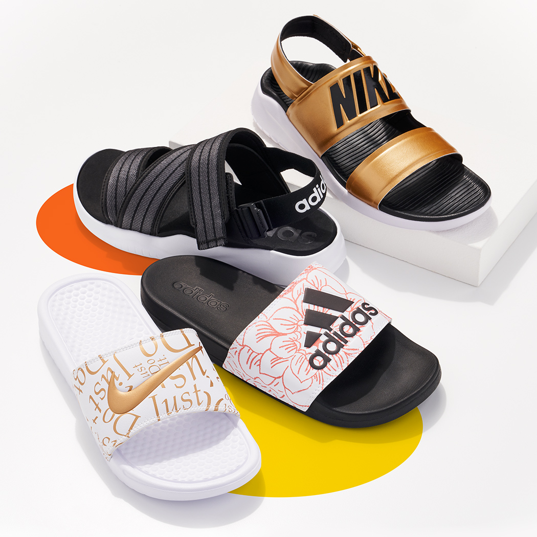 nike and adidas sport sandals and slides