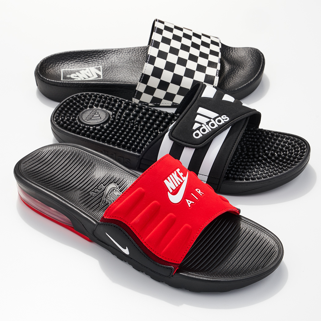 assorted sporty slides by vans, adidas, and nike