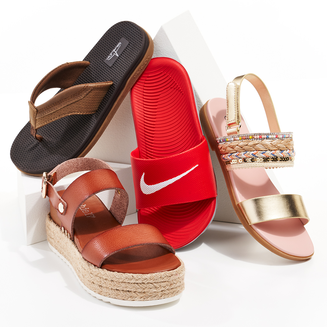 assorted comfy and stylish sandals and slides